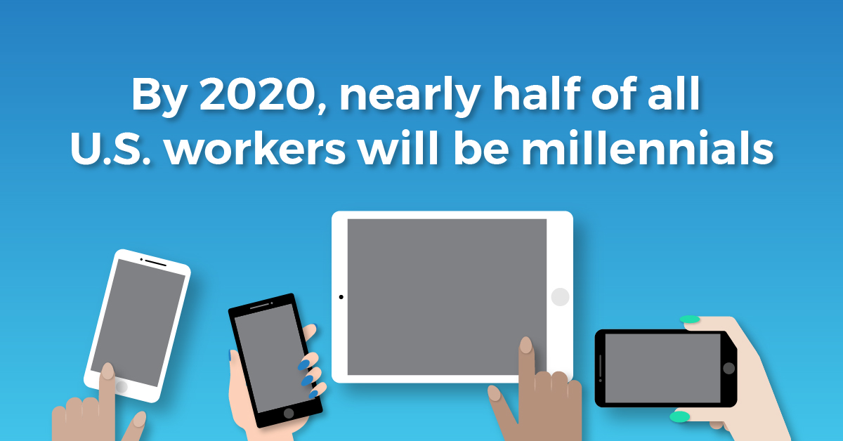 "A graphic of individuals holding tablets and cell phones with the text caption, ""By 2020, nearly half of all U.S. workers will be millennials."""