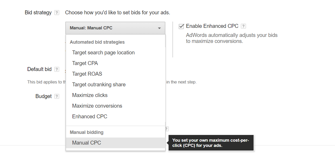 An image of what the bidding strategy settings in adwords looks like.