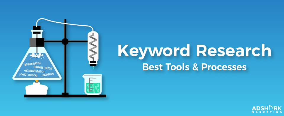 """Graphic with a science labatory with the text caption, """"Keyword Research: Best Tools and Processes."""""""