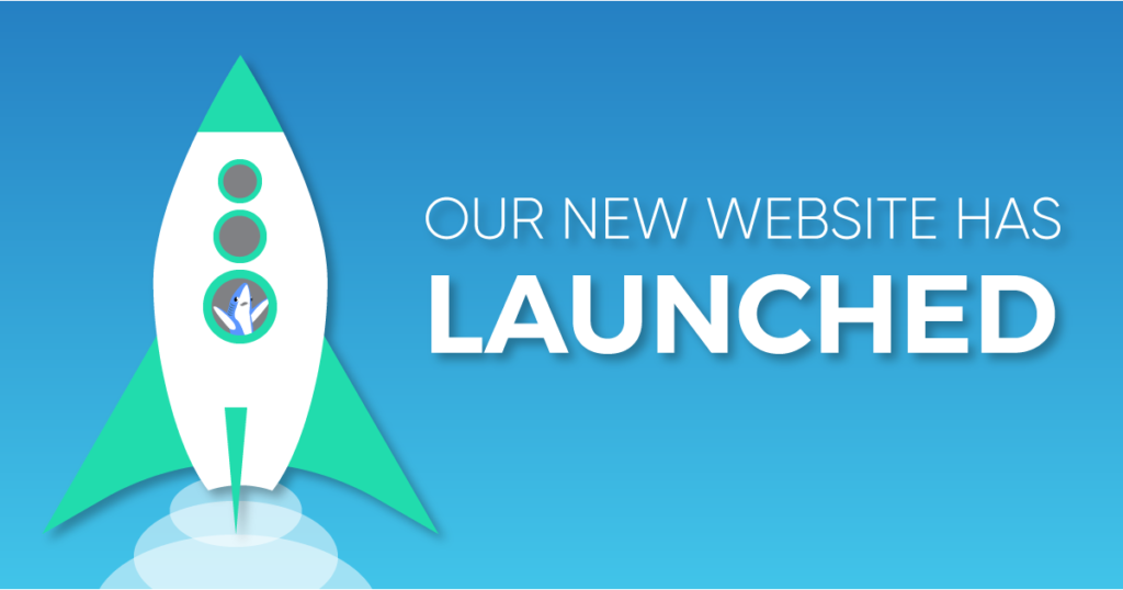 "A graphic with a green and white rocket icon with the text caption, ""Our New Website Has Launched."""