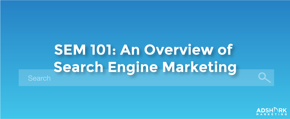 """A blue graphic with a picture of a search engine with the text caption, """"SEM 101: An overview of search engine marketing."""""""